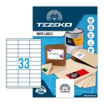70*25,4 mm-es Tezeko A4 íves etikett címke, fehér színű (100 ív/doboz)