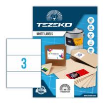 210*99 mm-es Tezeko A4 íves etikett címke, fehér színű (100 ív/doboz)