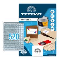 8 mm-es Tezeko A4 íves etikett címke, fehér színű (100 ív/doboz)