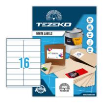 105*35 mm-es Tezeko A4 íves etikett címke, fehér színű (100 ív/doboz)