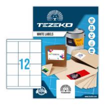 70*67,7 mm-es Tezeko A4 íves etikett címke, fehér színű (100 ív/doboz)