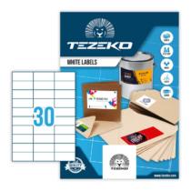 70*29,6 mm-es Tezeko A4 íves etikett címke, fehér színű (100 ív/doboz)