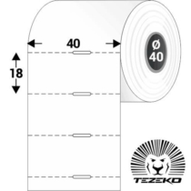 Polccímke 40 * 18 mm-es, perforált Termál szalag vezérlőlyukkal (1000 db/tekercs)