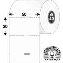 Polccímke 50 * 30 mm-es, perforált Termál szalag vezérlőlyukkal (1000 db/tekercs)