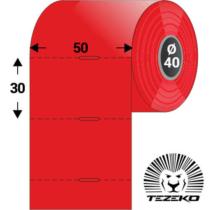 Polccímke 50 * 30 mm-es, perforált Termál szalag vezérlőlyukkal, PIROS SZÍNŰ (1000 db/tekercs)