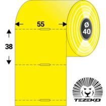 Polccímke 55 * 38 mm-es, perforált Termál szalag vezérlőlyukkal, SÁRGA SZÍNŰ (1000 db/tekercs)