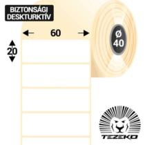 60 * 20 mm-es 1 Pályás Műanyag Biztonsági Címke (2000 Címke/Tekercs)