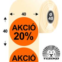 40 mm-es kör, papír címke, fluo narancs színű, Akció 20% felirattal (1000 címke/tekercs)