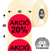 40 mm-es kör, papír címke, fluo piros színű, Akció 20% felirattal (1000 címke/tekercs)