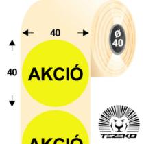 40 mm-es kör, papír címke, fluo sárga színű, Akció felirattal (1000 címke/tekercs)