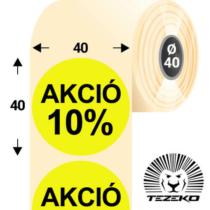 40 mm-es kör, papír címke, fluo sárga színű, Akció 10% felirattal (1000 címke/tekercs)