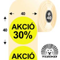 40 mm-es kör, papír címke, fluo sárga színű, Akció 30% felirattal (1000 címke/tekercs)