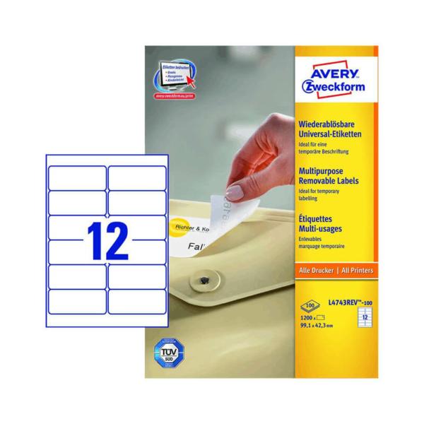 Avery Zweckform öntapadó íves etikett címke L4743REV-100