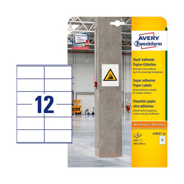 Avery Zweckform öntapadó íves etikett címke L7875-20