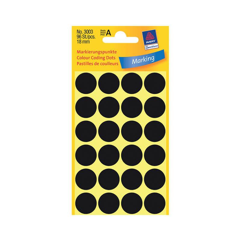 18*18 mm-es Avery Zweckform öntapadó íves etikett címke, fekete színű (4 ív/doboz), normál ragasztóval
