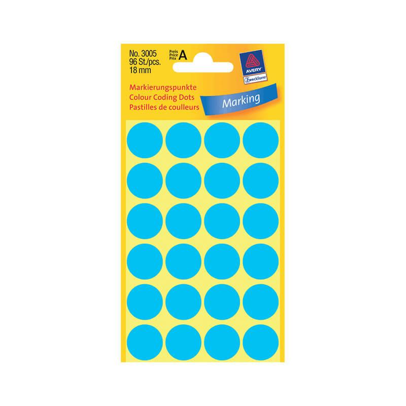 18*18 mm-es Avery Zweckform öntapadó íves etikett címke, kék színű (4 ív/doboz), normál ragasztóval