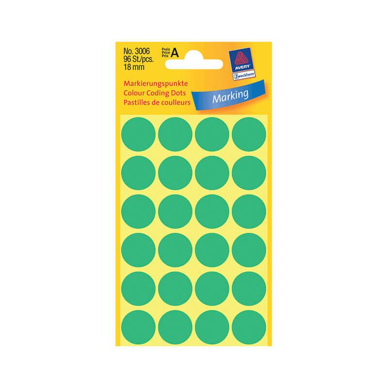 18*18 mm-es Avery Zweckform öntapadó íves etikett címke, zöld színű (4 ív/doboz), normál ragasztóval