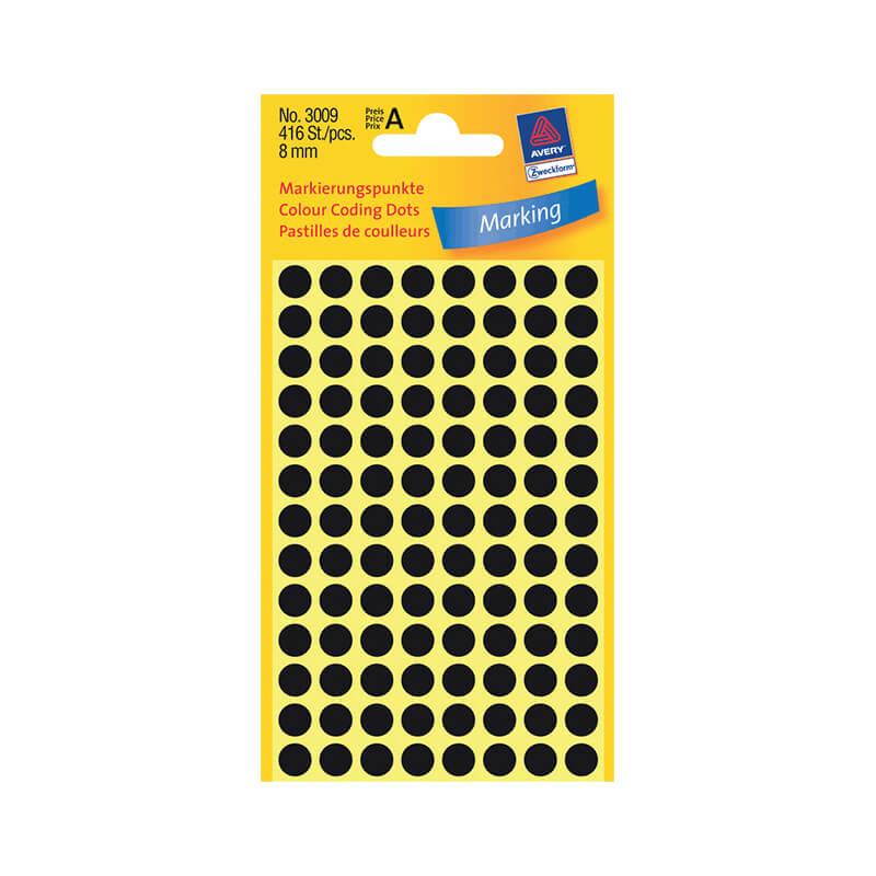 8*8 mm-es Avery Zweckform öntapadó íves etikett címke, fekete színű (4 ív/doboz), normál ragasztóval