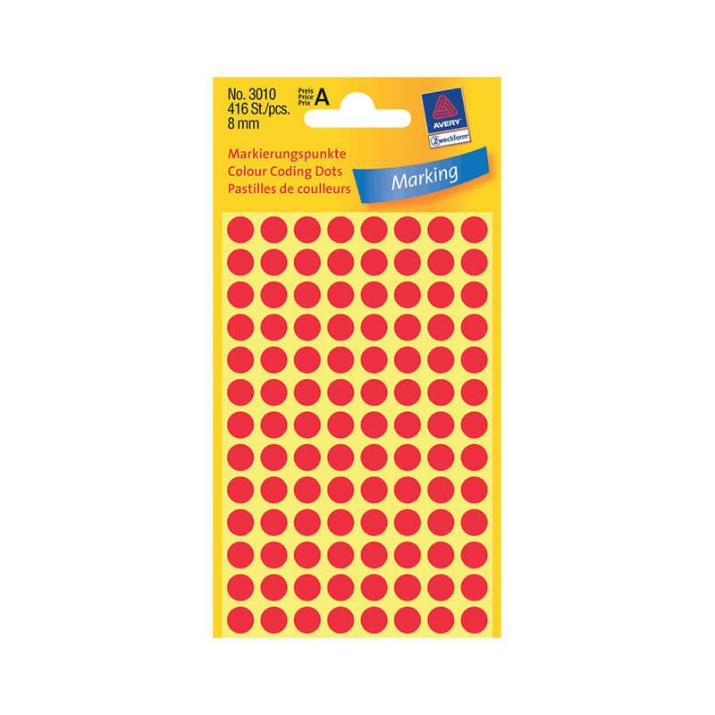 8*8 mm-es Avery Zweckform öntapadó íves etikett címke, piros színű (4 ív/doboz), normál ragasztóval