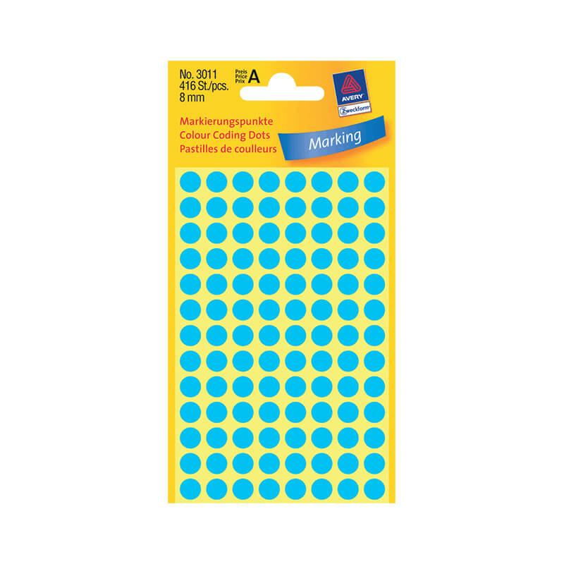8*8 mm-es Avery Zweckform öntapadó íves etikett címke, kék színű (4 ív/doboz), normál ragasztóval