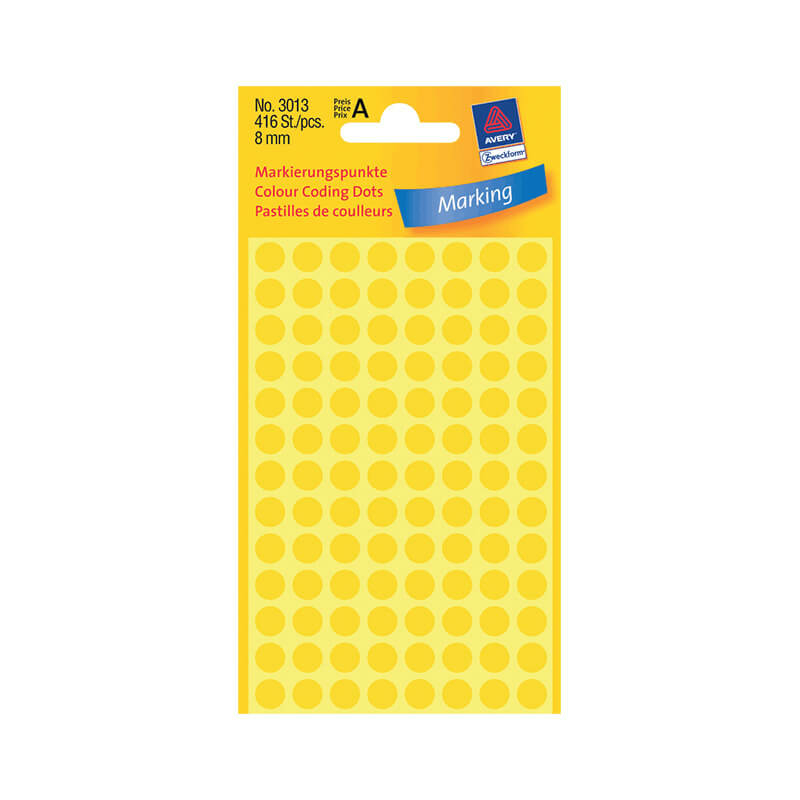 8*8 mm-es Avery Zweckform öntapadó íves etikett címke, sárga színű (4 ív/doboz), normál ragasztóval