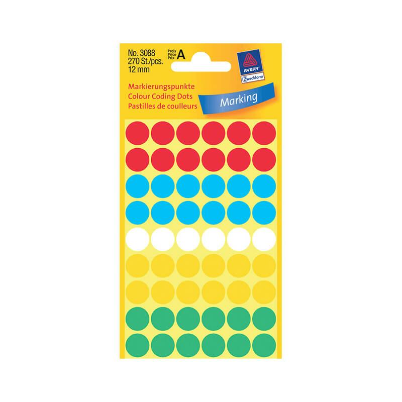 12*12 mm-es Avery Zweckform öntapadó íves etikett címke, vegyes színű (5 ív/doboz), normál ragasztóval