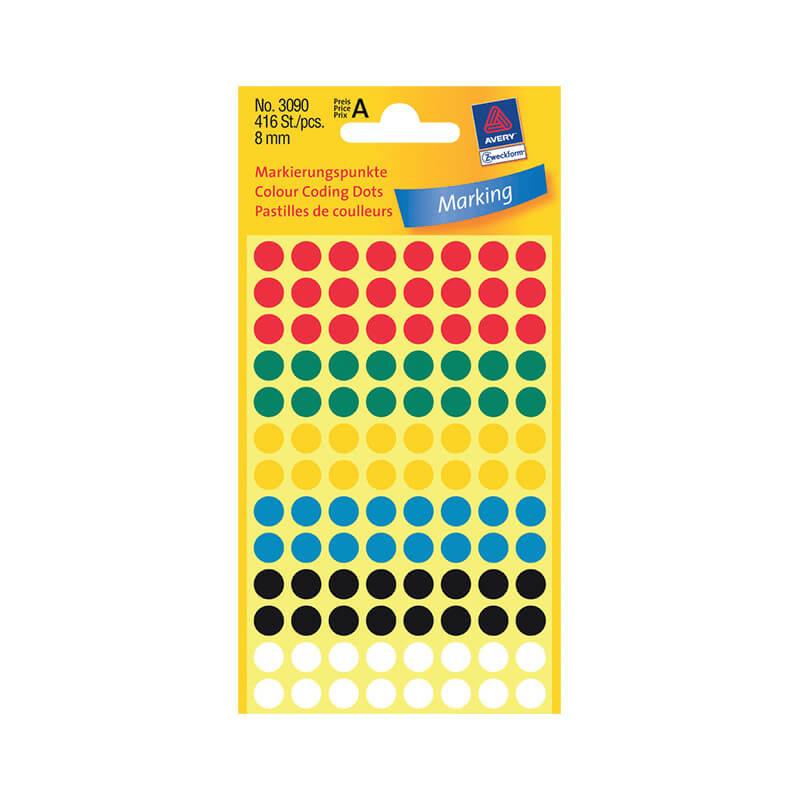 8*8 mm-es Avery Zweckform öntapadó íves etikett címke, vegyes színű (4 ív/doboz), normál ragasztóval