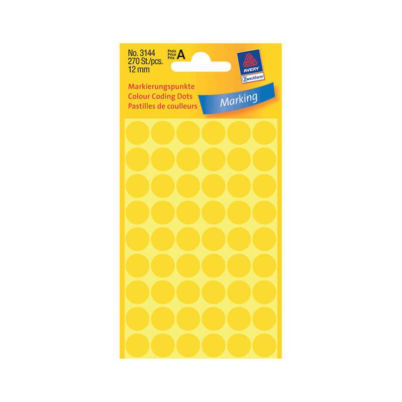 12*12 mm-es Avery Zweckform öntapadó íves etikett címke, sárga színű (5 ív/doboz), normál ragasztóval