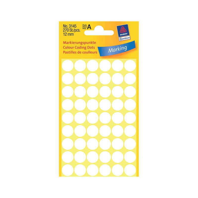 12*12 mm-es Avery Zweckform öntapadó íves etikett címke, fehér színű (5 ív/doboz), normál ragasztóval