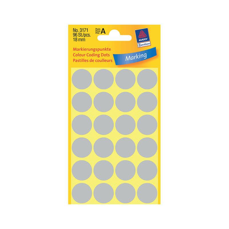 18*18 mm-es Avery Zweckform öntapadó íves etikett címke, szürke színű (4 ív/doboz), normál ragasztóval