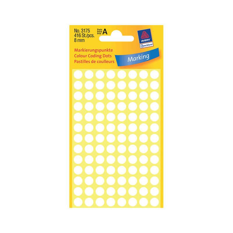 8*8 mm-es Avery Zweckform öntapadó íves etikett címke, fehér színű (4 ív/doboz), normál ragasztóval