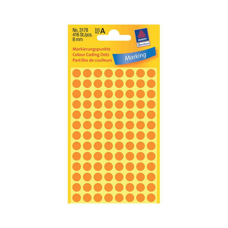 8*8 mm-es Avery Zweckform öntapadó íves etikett címke, neonnarancs színű (4 ív/doboz), normál ragasztóval