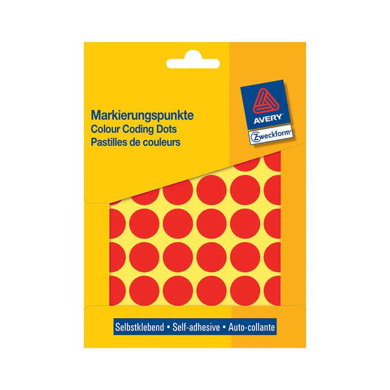 18*18 mm-es Avery Zweckform öntapadó íves etikett címke, piros színű (22 ív/doboz), normál ragasztóval