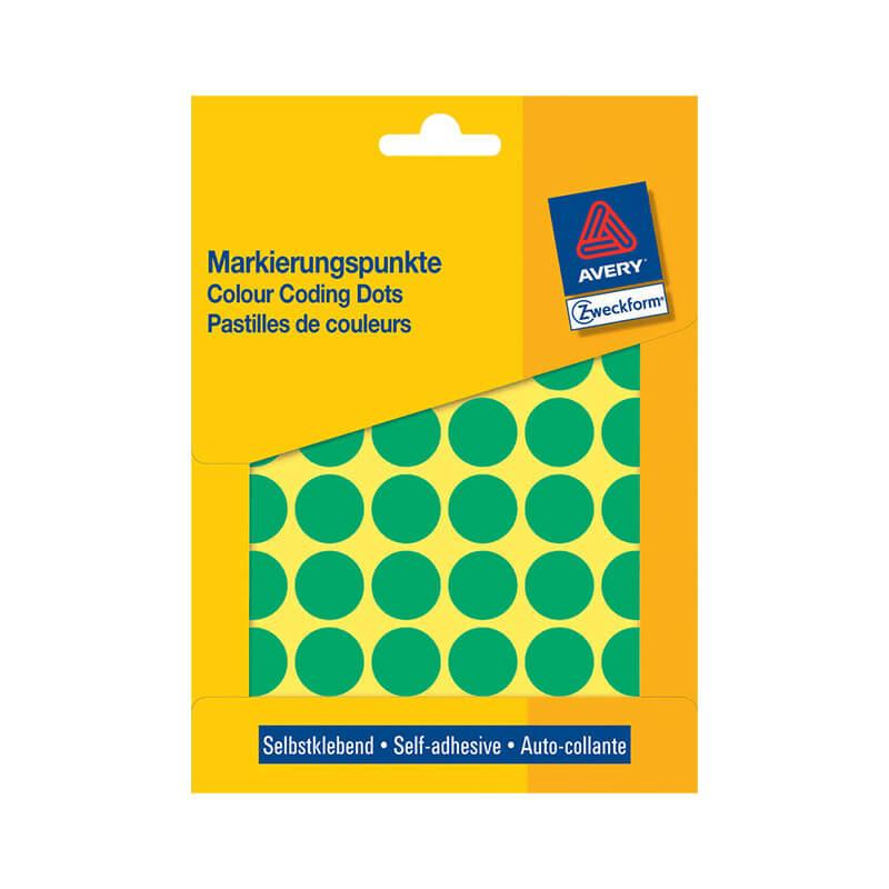 18*18 mm-es Avery Zweckform öntapadó íves etikett címke, zöld színű (22 ív/doboz), normál ragasztóval