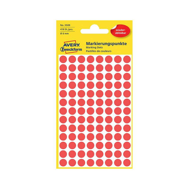 8*8 mm-es Avery Zweckform öntapadó íves etikett címke, piros színű (4 ív/doboz), visszaszedhető ragasztóval