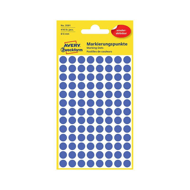 8*8 mm-es Avery Zweckform öntapadó íves etikett címke, kék színű (4 ív/doboz), visszaszedhető ragasztóval
