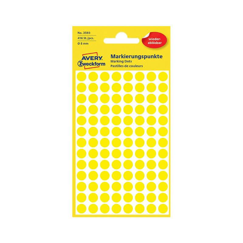 8*8 mm-es Avery Zweckform öntapadó íves etikett címke, sárga színű (4 ív/doboz), visszaszedhető ragasztóval