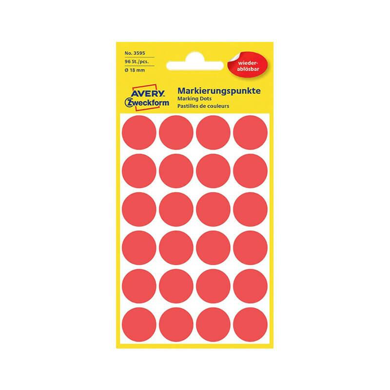 18*18 mm-es Avery Zweckform öntapadó íves etikett címke, piros színű (4 ív/doboz), visszaszedhető ragasztóval
