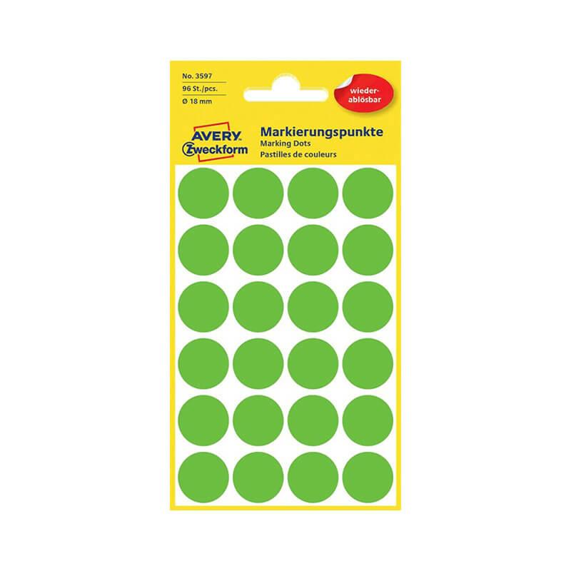 18*18 mm-es Avery Zweckform öntapadó íves etikett címke, zöld színű (4 ív/doboz), visszaszedhető ragasztóval
