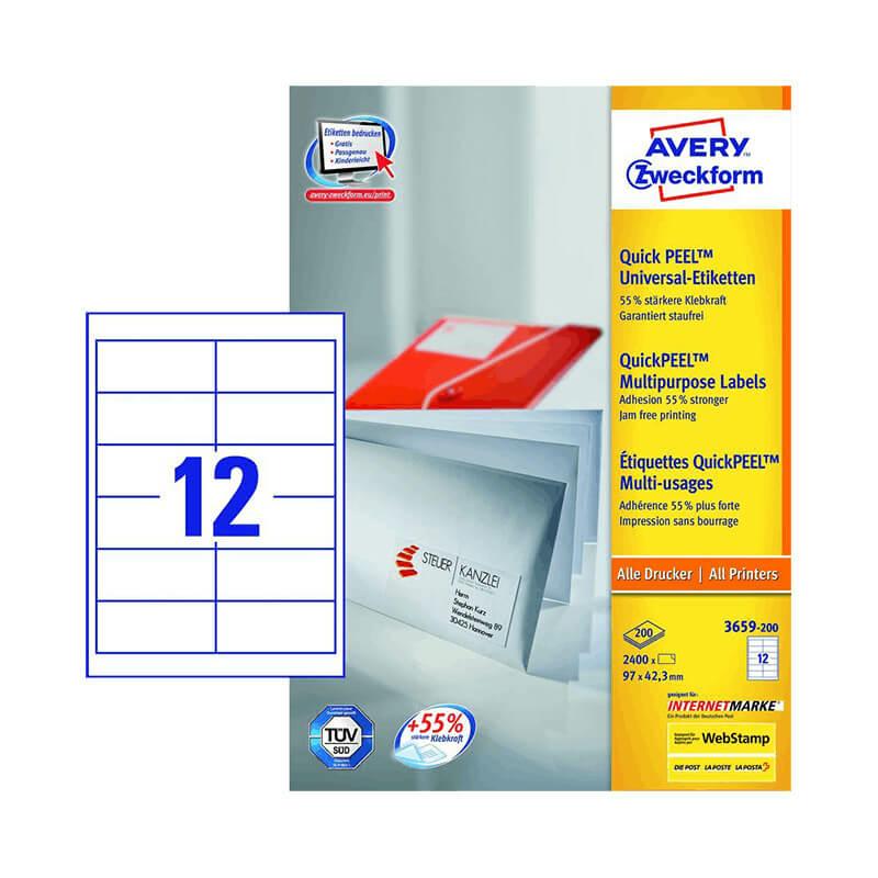 97*42,3 mm-es Avery Zweckform A4 íves etikett címke, fehér színű (200 ív/doboz)