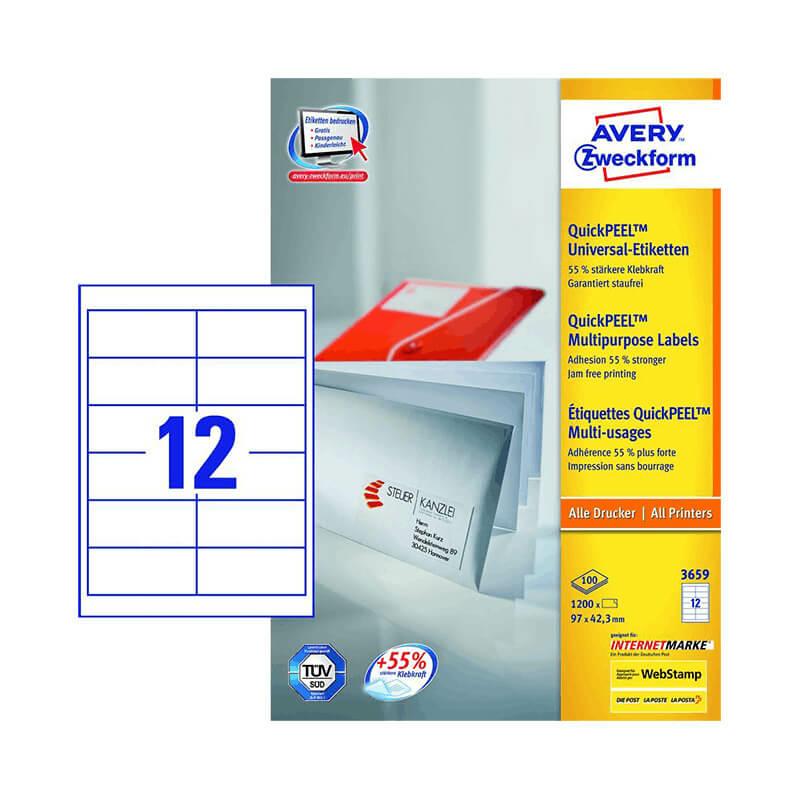 97*42,3 mm-es Avery Zweckform A4 íves etikett címke, fehér színű (100 ív/doboz)