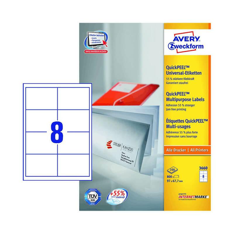 97*67,7 mm-es Avery Zweckform A4 íves etikett címke, fehér színű (100 ív/doboz)
