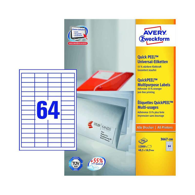 48,5*16,9 mm-es Avery Zweckform A4 íves etikett címke, fehér színű (200 ív/doboz)