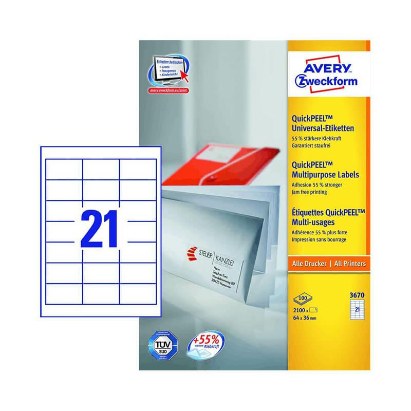 64*36 mm-es Avery Zweckform A4 íves etikett címke, fehér színű (100 ív/doboz)
