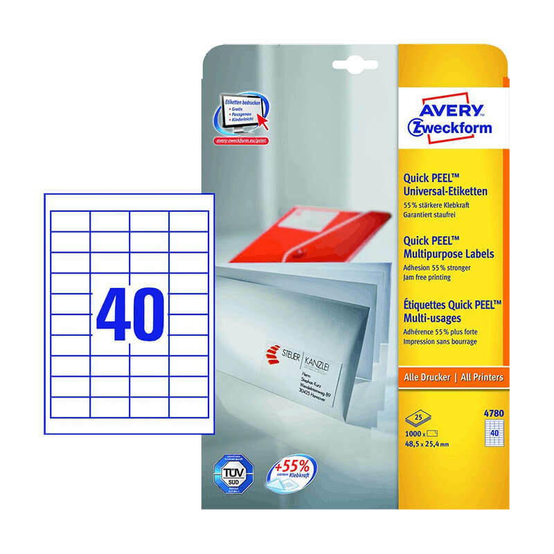 48,5*25,4 mm-es Avery Zweckform A4 íves etikett címke, fehér színű (25 ív/doboz)
