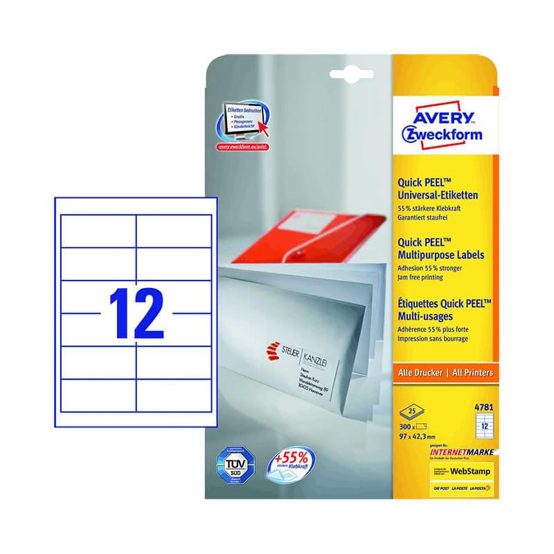 97*42,3 mm-es Avery Zweckform A4 íves etikett címke, fehér színű (25 ív/doboz)