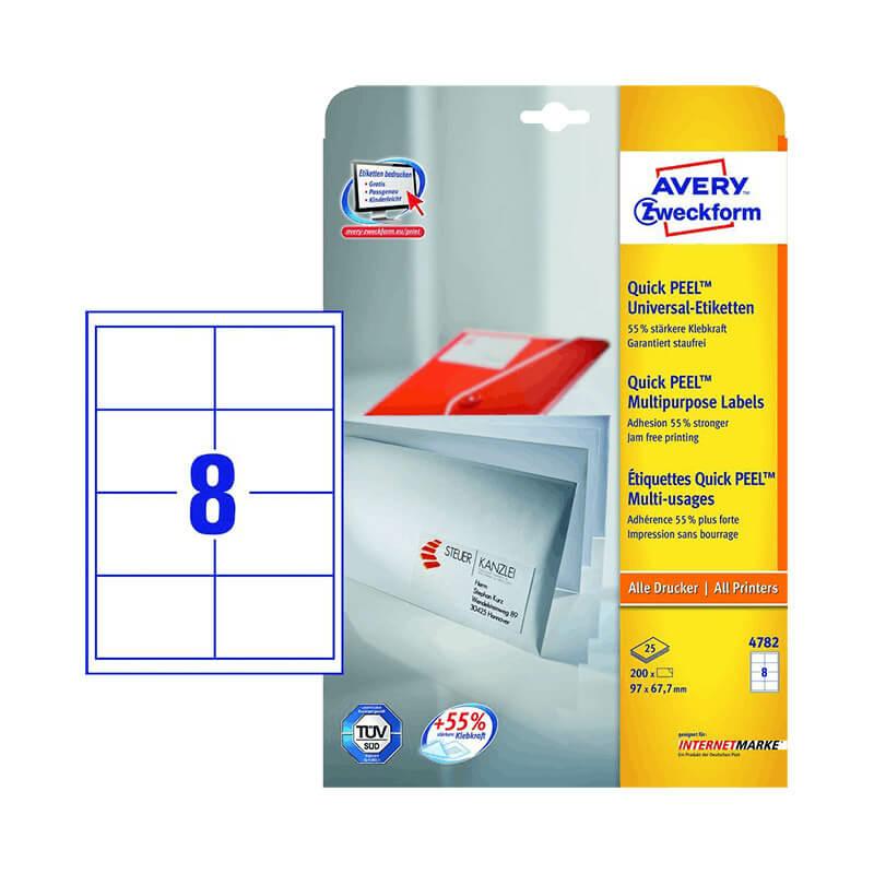 97*67,7 mm-es Avery Zweckform A4 íves etikett címke, fehér színű (25 ív/doboz)