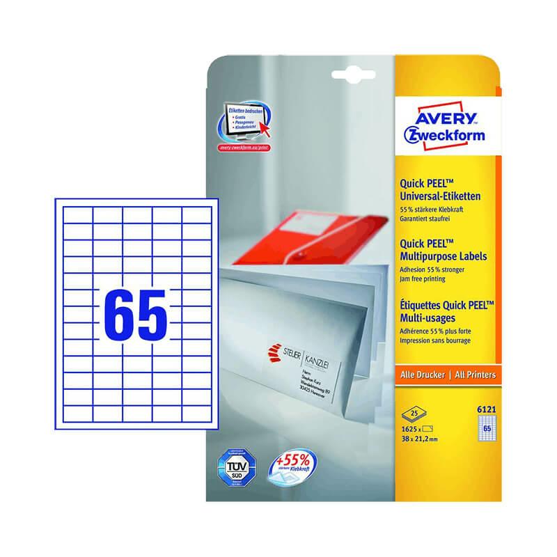 38*21,2 mm-es Avery Zweckform A4 íves etikett címke, fehér színű (25 ív/doboz)