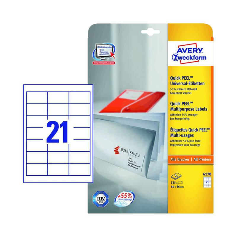 64*36 mm-es Avery Zweckform A4 íves etikett címke, fehér színű (25 ív/doboz)
