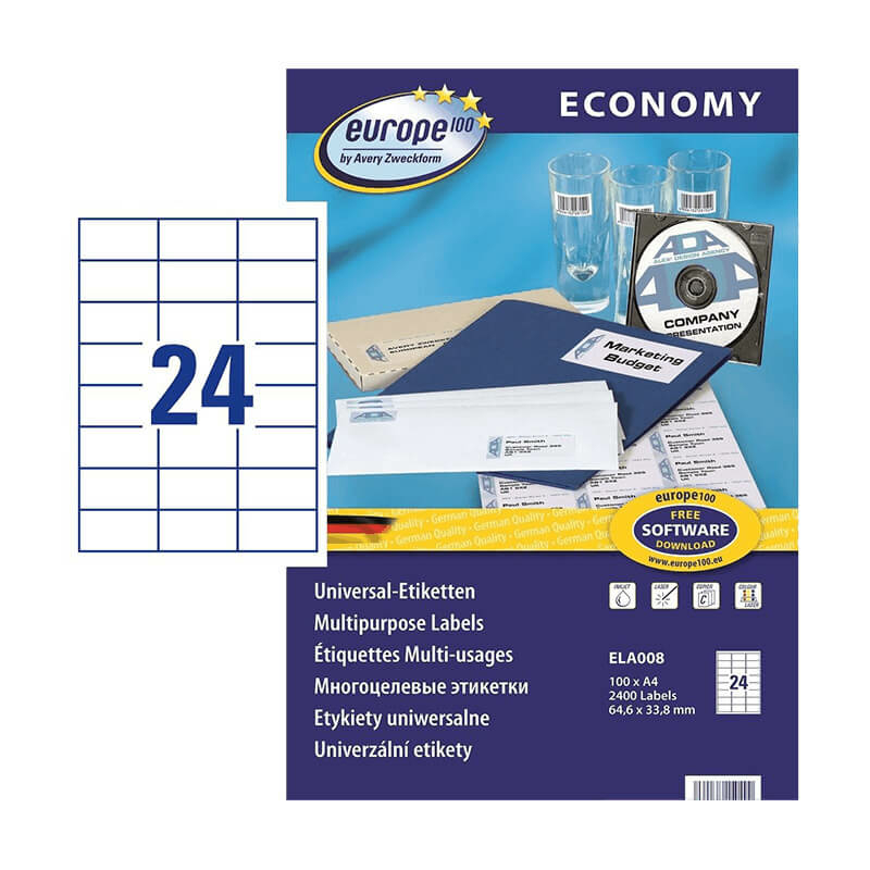 64,6*33,8 mm-es Avery Zweckform A4 íves etikett címke, fehér színű (100 ív/doboz)